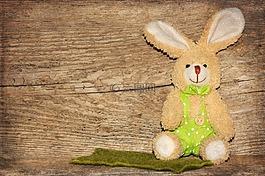 木,织物的兔子,复活节兔子