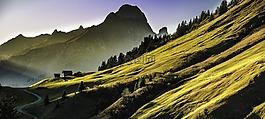 景觀,山,abendstimmung