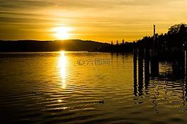 日落,黄色,太阳