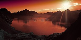 日落,湖,山