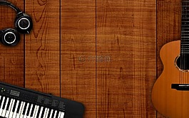 音乐背景,音乐文书桌上,木制的背景