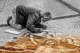 男子,藝術家,街