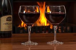 红酒,眼镜,日志火