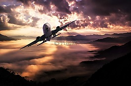 景观,飞机,云