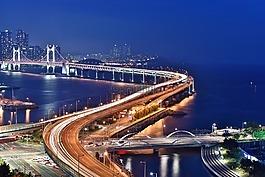 釜山夜景,廣安橋,晚上