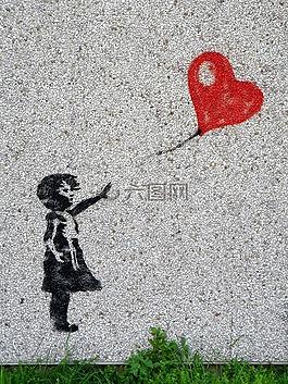壁画,女孩,气球