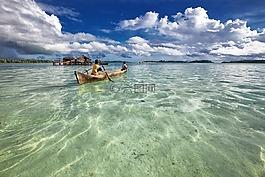 瀉湖,獨木舟,兒童