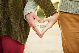 手,心,女孩