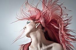粉红色的头发,发型,妇女