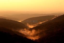 山,日落,云