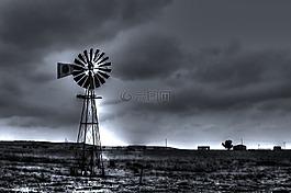 黑色和白色的風景,風車,國家