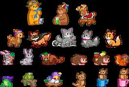 动物宝宝,熊,兔子
