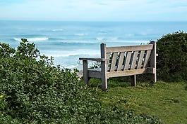 長凳,海邊,查看