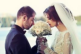 婚礼,夫妇,爱