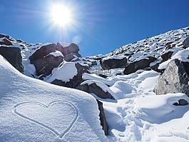 太陽,雪,心臟