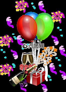 周年,气球,瓶
