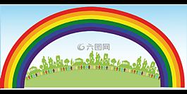彩虹,人,幸福