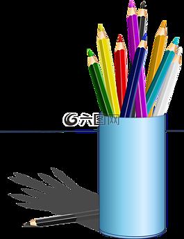 铅笔,彩色的铅笔,盒