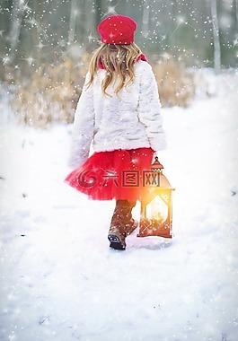 冬天,雪,雪下