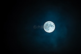 月亮,豐滿的,天空