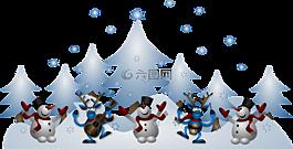 雪人,驯鹿,圣诞节