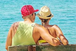 夫婦,海邊,情侶在海邊