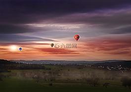 天空,热气球,浮点数
