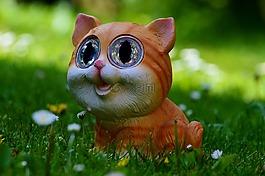 猫,草地,可爱