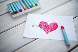 心,卡,蠟筆