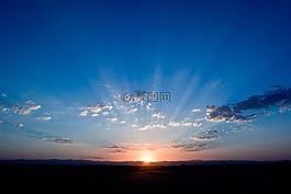 日出,天空,蓝色