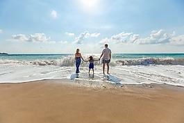 海灘,家庭,樂趣