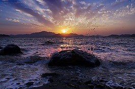 落日,夕陽,大海