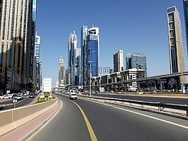 摩天大樓,公路,迪拜