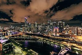 市容,夜,建筑物