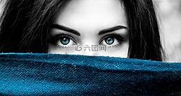 女子,蓝色的眼睛,蓝色