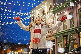 圣誕節,燈,雪