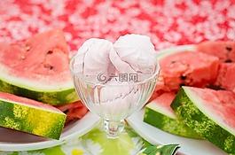 西瓜,棉花糖,粉红色
