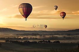 热空气,气球,谷