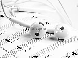 音樂,耳機,白