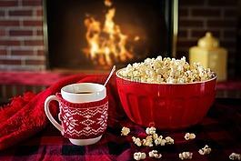 溫暖和舒適,冬天,爆米花