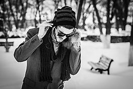 男孩,冬季,雪