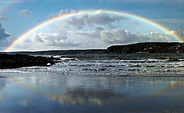 彩虹,海邊,海岸