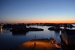 晚上,光,海