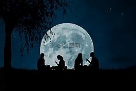 月亮,空間,夜