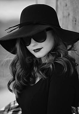 黑色和白色,肖像,女子