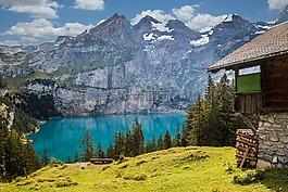 棚屋,湖,山