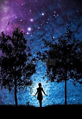 明星,女子,樹木