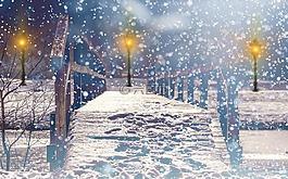 雪,降雪,灯笼