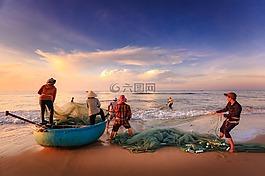 渔民,捕鱼,工作