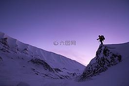 雪,日落,徒步旅行